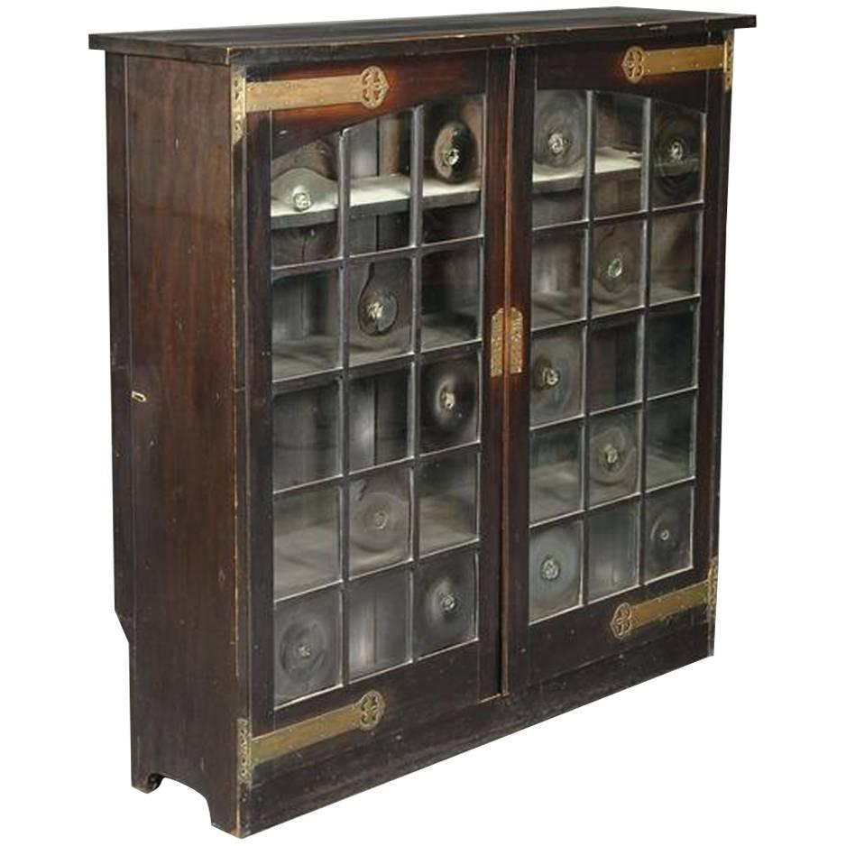 Glasgow School Green Stained Cypress Wood Glazed Bookcase