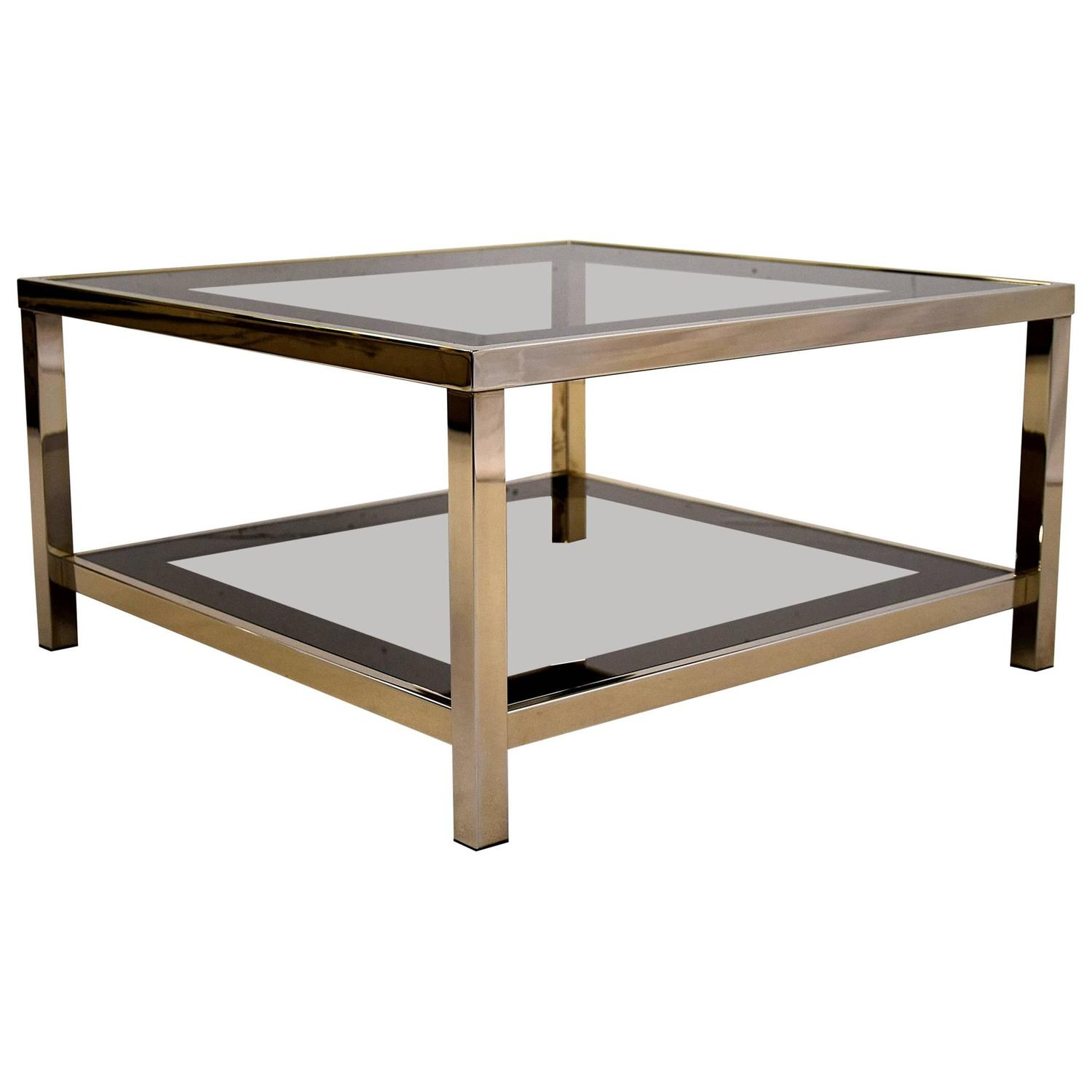 Gold Plated Coffee Table: Mid-Century Modern 23-Karat Gold-Plated Coffee Table For