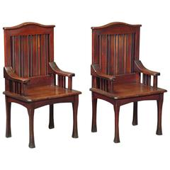 Unusual Pair of Stained Cypress Wood Armchairs by the Glasgow School