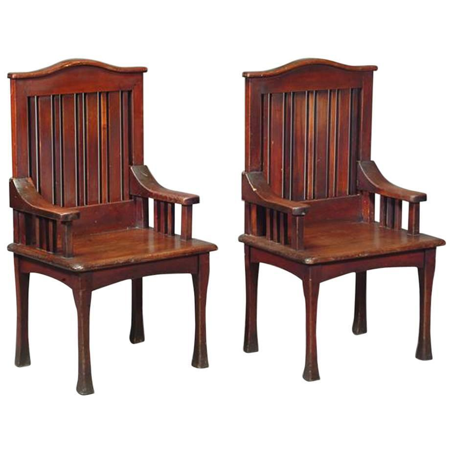 Unusual Pair Of Stained Cypress Wood Armchairs By The