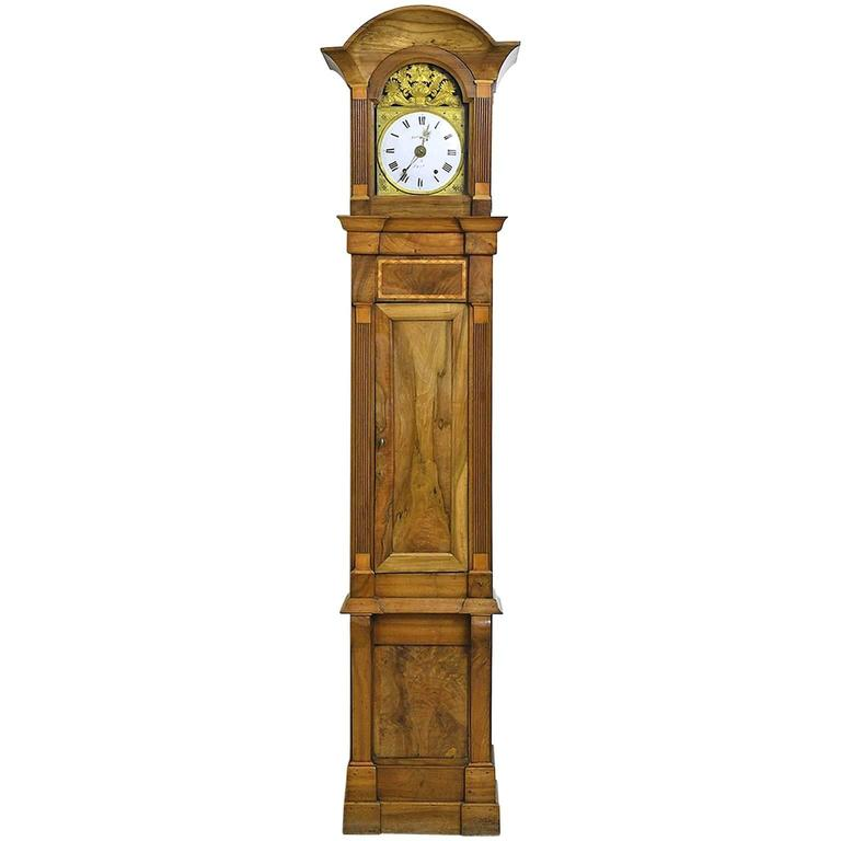 Tall French Louis XVI Long Case Clock with Walnut Case & Brass and Enamel Dial For Sale