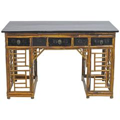 Bamboo Chinese Pedestal Desk with Ebonized Top & Drawers, circa 1930