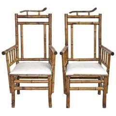 Pair of Antique French Indochinese Bamboo Lounge Chairs with Upholstery