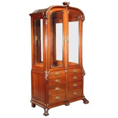 French Art Nouveau Walnut Display Cabinet