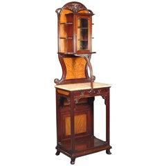Art Nouveau Carved Walnut  inlaid & glazed Salon Cabinet by Loius Majorelle