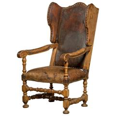 English Leather Upholstered Wingback Chair in Walnut