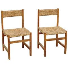 Spanish Formalist Pair of Rattan Chairs, circa 1950