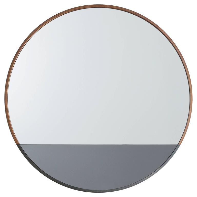 Round Waterline Mirror by Uhuru Design, walnut, blackened steel