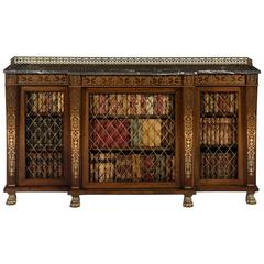High Regency Rosewood Brass Inlaid Breakfront Bookcase George Oakley