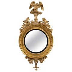 Regency Carved Giltwood and Gesso Convex Mirror of Grand Proportions