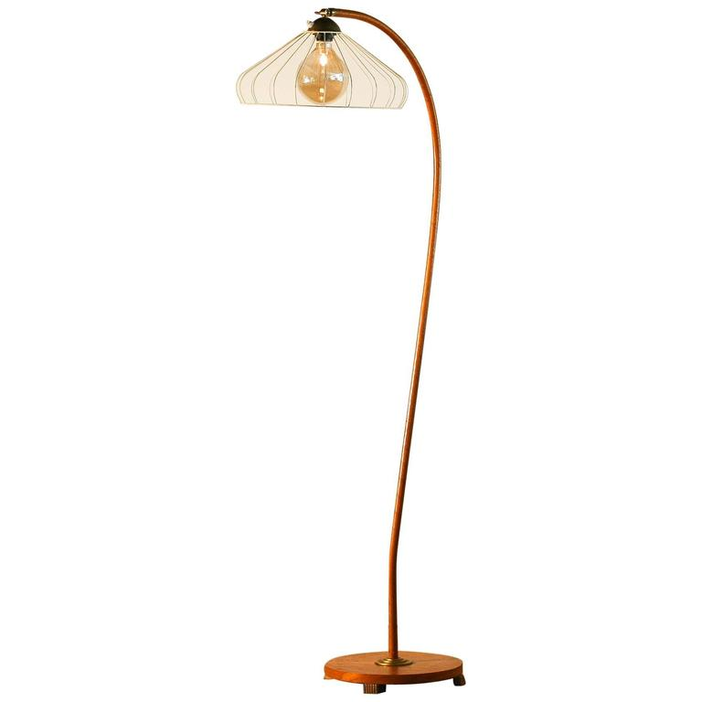 1940s beautiful wooden wrapped floor lamp from sweden at for Beautiful floor lamps