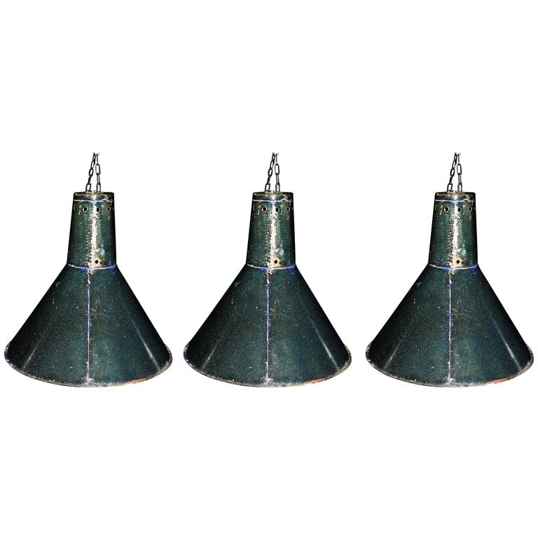 Russian Industrial Pendants: 1970's Conical Industrial Pendant Lights At 1stdibs