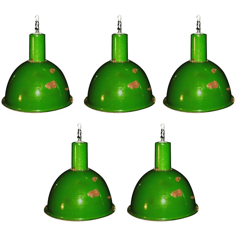1960s Large Green Factory Pendants At 1stdibs