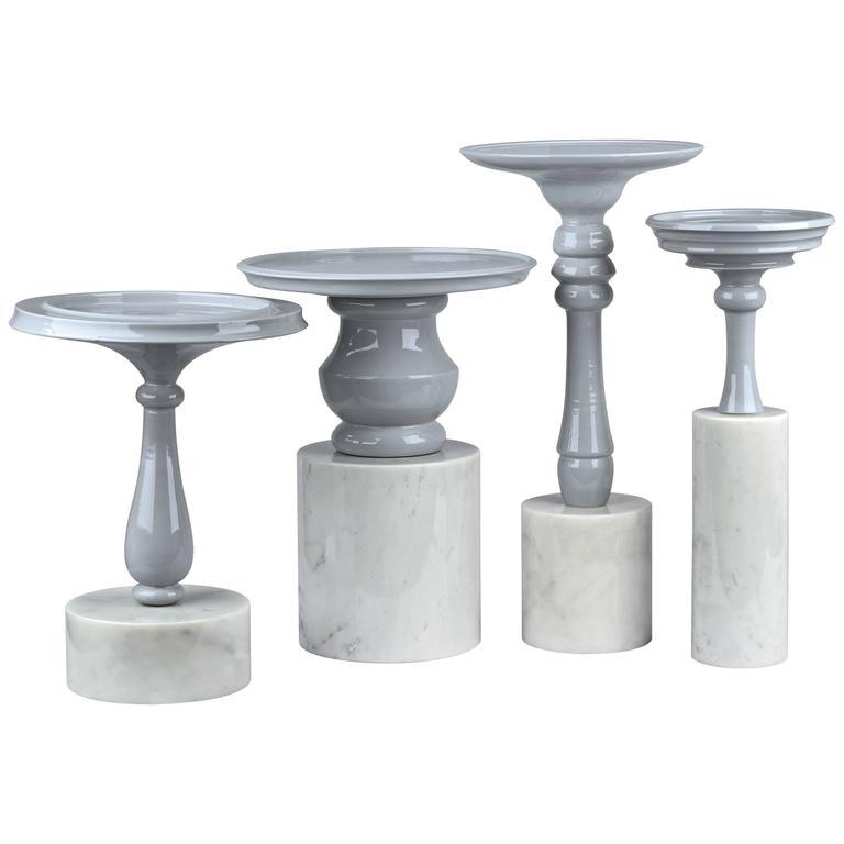 Ceramic and Carrara Marble Bouquet de Tables by Sam Baron