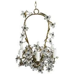 Italian Crystal Flower Basket Six-Light Chandelier