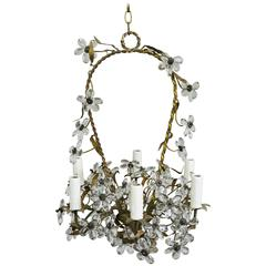 Italian Crystal Flower Basket Six-Light Chandelier