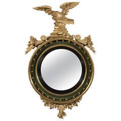 Regency Carved Giltwood Gesso Green Painted Convex Mirror