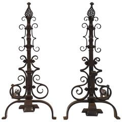 French Vintage Andirons Attributed to Gilbert Poillerat