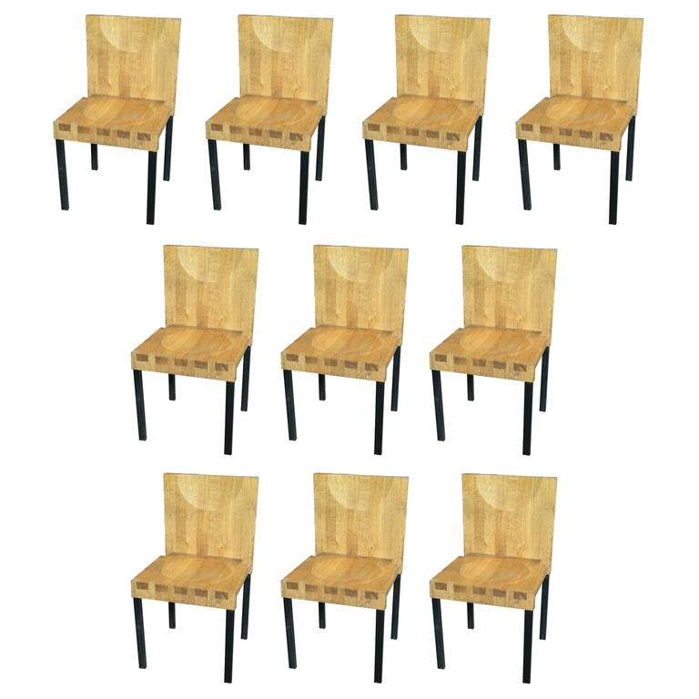 Set of 10 Scandinavian Modern Wood and Steel Dining Chairs