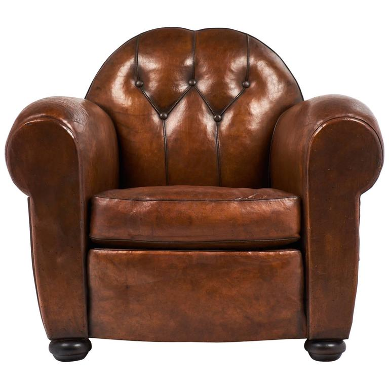 Rare French Art Deco Tufted Club Chair at 1stdibs
