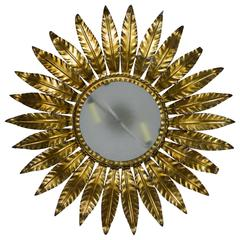 Spanish Gilt Metal Sunburst  Ceiling Fixture with Frosted Glass