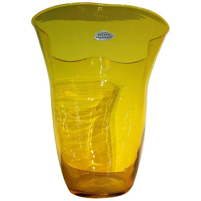 20th Century Blenko Glass Amber And Cobalt Beaker Vase At 1stdibs