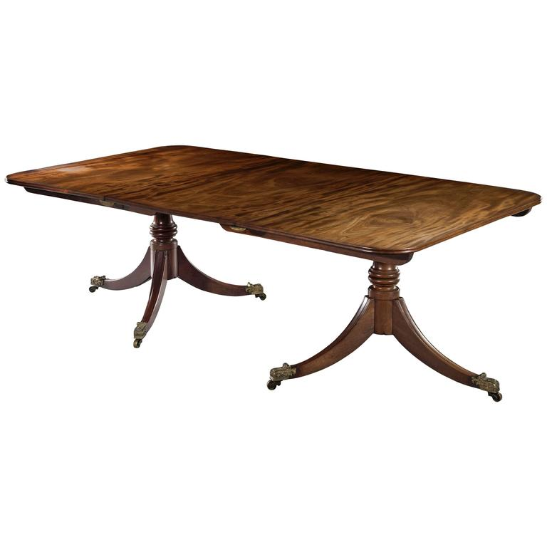 George III Mahogany Twin Pedestal Dining Table