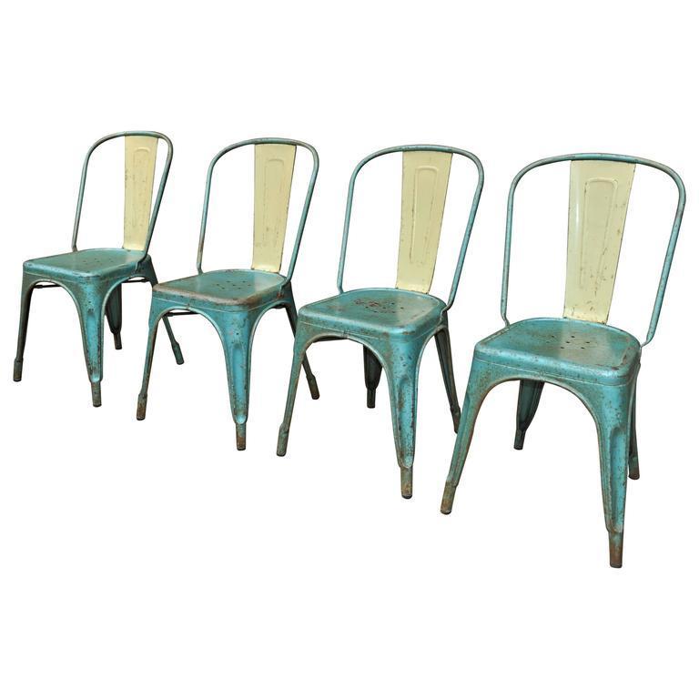 Set of Four Vintage 1950 Tolix Chairs Original Color