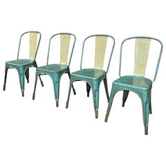 Set of Four Vintage 1950 Tolix Chairs Original Color
