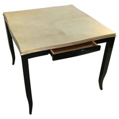 Lacquered Goatskin Top Table in the Manner of Karl Springer