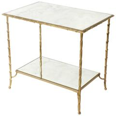 Two-Tiered French Cigarette Table by Baguès, circa 1950