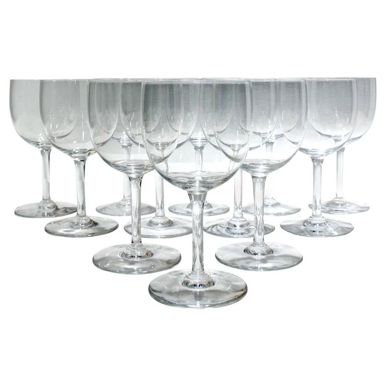 12 Baccarat Glass Tall Water Goblets in the Montaigne Non-Optic Pattern