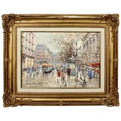 """""""Marche Aux Fleurs de la Madeleine"""" Oil on Canvas Painting by Antoine Blanchard"""