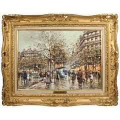 """Les Galeries Lafayette a Paris en 1900"" Oil Painting by Antoine Blanchard"