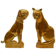 Pair of Solid Brass 19th Century Andirons in Cat and Dog Figures