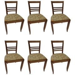 Set of Six French Oak Chairs with Seagrass Seats