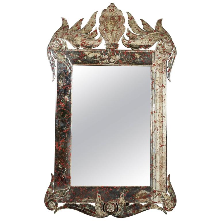 Large vintage venetian glass mirror for sale at 1stdibs for Tall glass mirror