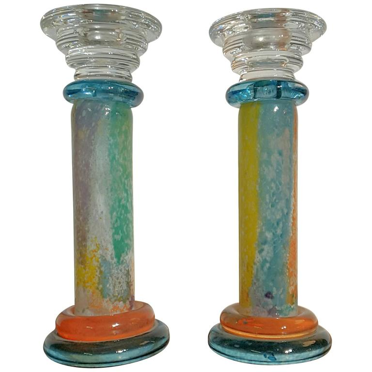 Pair Of Kosta Boda Multicolored Candlestick Holders