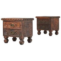 William Westenhaver for WITCO, Pair of Exotic Carved Nightstands, circa 1950