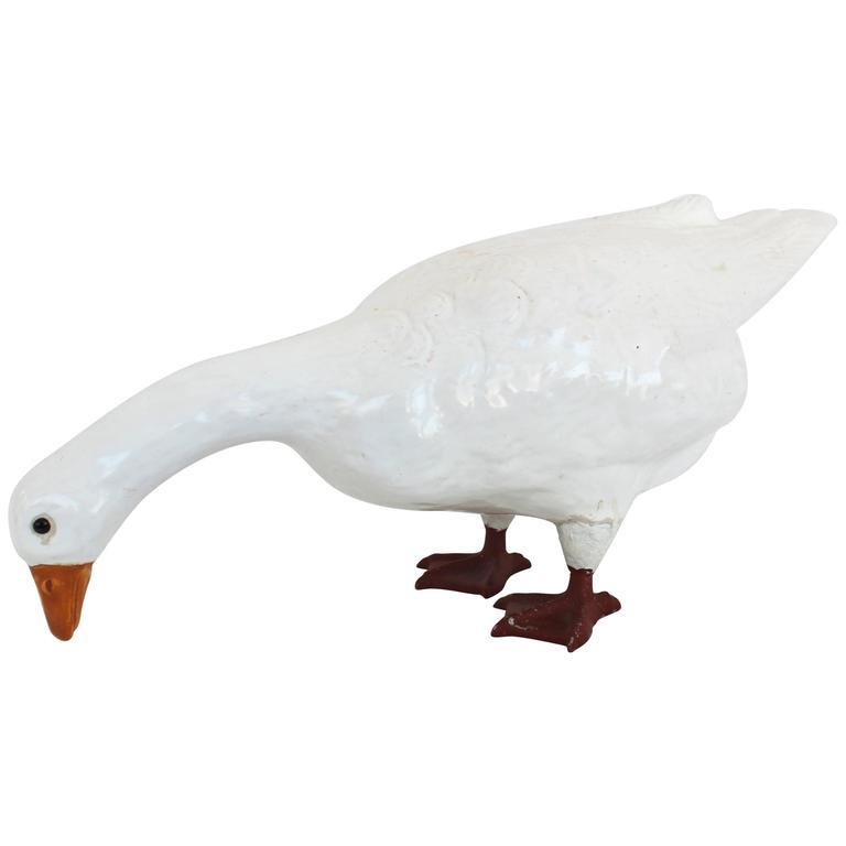 White Glazed Ceramic Goose