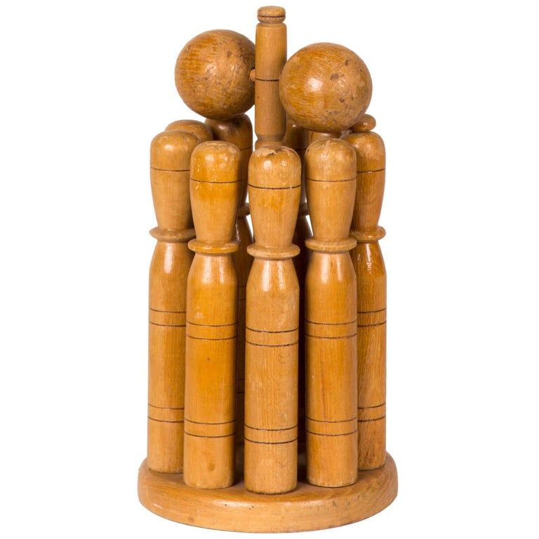 Early 20th Century Wooden Skittle Set with Stand from England  For Sale