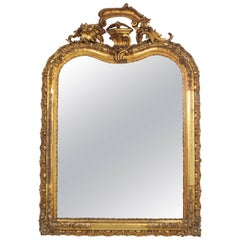 French Louis XV Period Carved Giltwood Mirror
