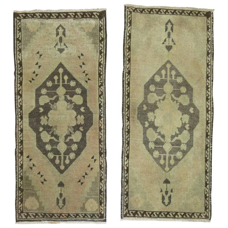 Pair of Vintage Turkish Rug Mats For Sale