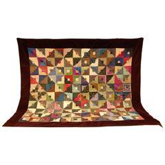 19th C. Silk Log Cabin Design Quilt with Red Silk Lining & Burgundy Silk Border