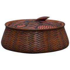 """Japanese Antique Finely Woven Red Lacquered Bamboo""""Fish Form"""" Basket signed"""