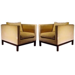 Edward Wormley Dunbar Yellow Upholstered Cube Club Chairs