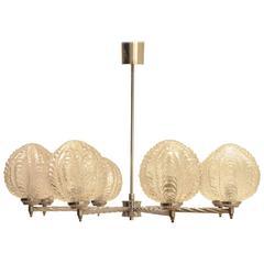 Art Deco Nickeled Metal & Seashell Patterned Glass Chandelier Pendant Lamp