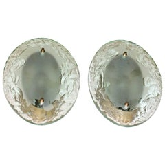 Pair of Italian Fontana Arte Style Broken Glass Wall Sconces
