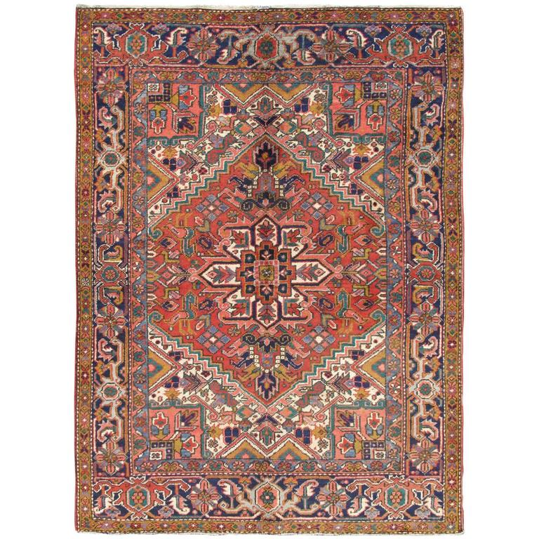 Colorful persian heriz rug for sale at 1stdibs for Colorful rugs for sale