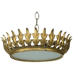 Mid-Century Spanish Sunburst  Gilt Crown Ceiling Fixture